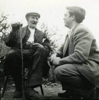 Bill Westaway and Alan Lomax. Belstone, Devon, England, 1953
