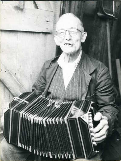 Scan Tester with accordion. Horsted Keynes, West Sussex, England, 1963