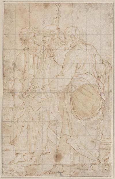 Christus en twee discipelen op weg naar Emmaüs