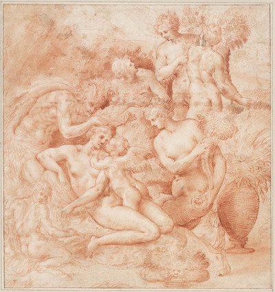 Venus, Amor, twee satyrs en vier nimfen