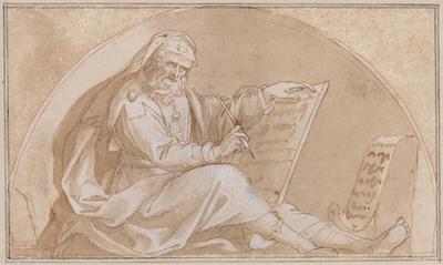 Zittende profeet in lunet, met tablet
