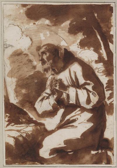 Franciscus van Assisi, geknield, in landschap