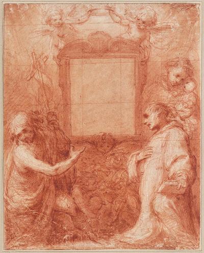 Drie heiligen met engeltjes rond lege lijst
