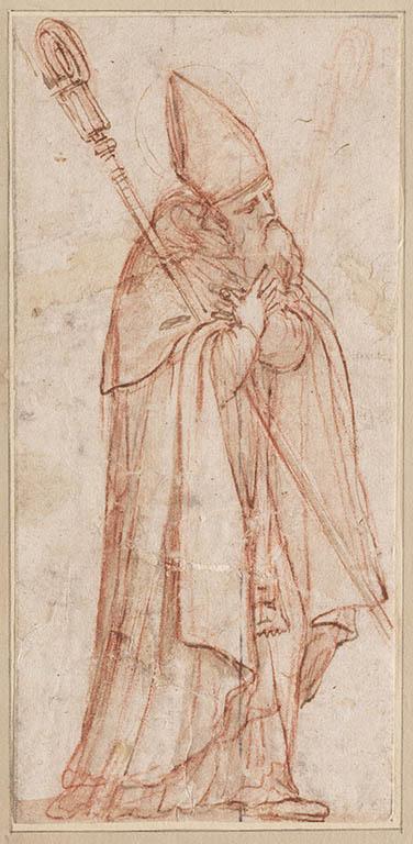Staande bisschop, de handen voor de borst gekruist