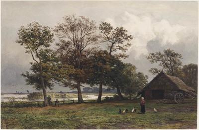"""Landschap met recht een schuur en wagen, op de voorgrond een boerin met kippen (""""Het Uddelermeer in Gelderland"""")"""