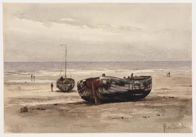 Strand met twee houten zeilboten, waarvan één zonder mast en enkele figuren (Un Invalide / Een oudgediende)
