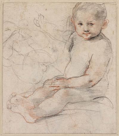 Studies van zittend naakt kind en liggende zuigeling