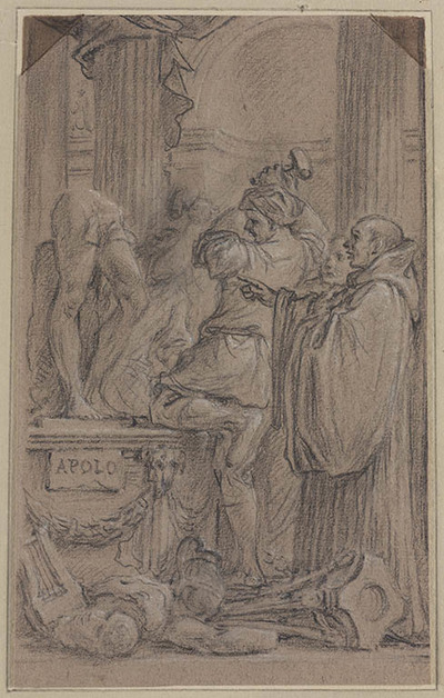 Heilige monnik laat afgodsbeeld verbrijzelen