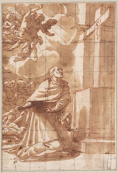 De heilige Carolus Borromeus aanbidt het Kruis