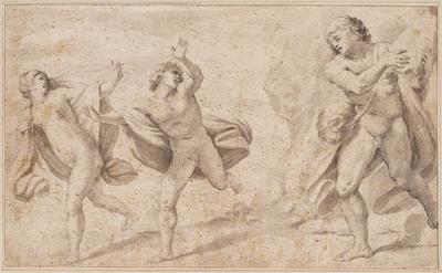 Acis en Galatea vluchten voor Polyphemus