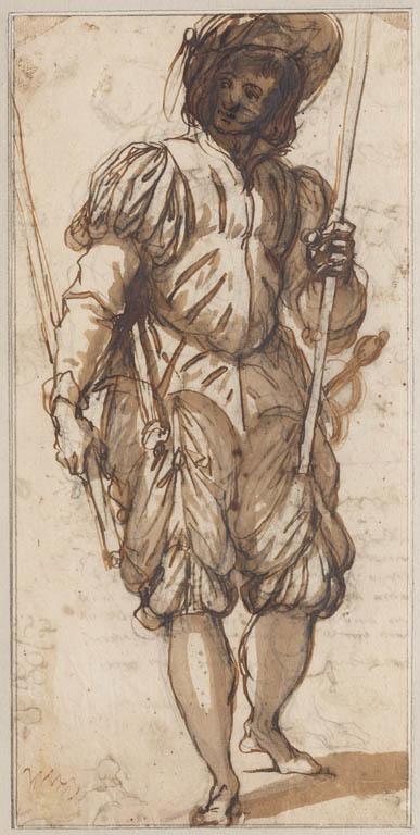 Soldaat, staand, met twee stokken in de handen