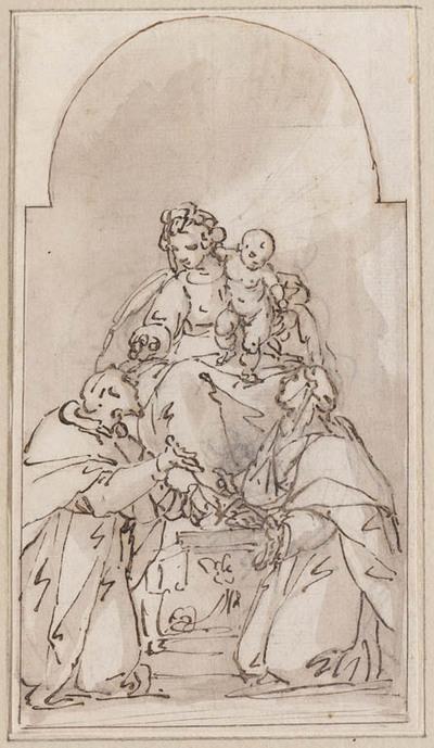 Madonna en Kind met heilige monnik en non