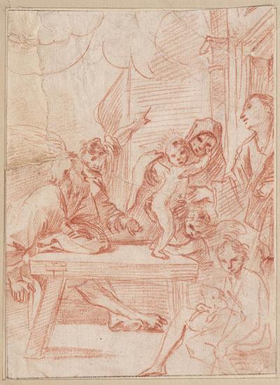 Heilige Familie met Elisabeth en Johannes de Doper in de timmermanswerkplaats