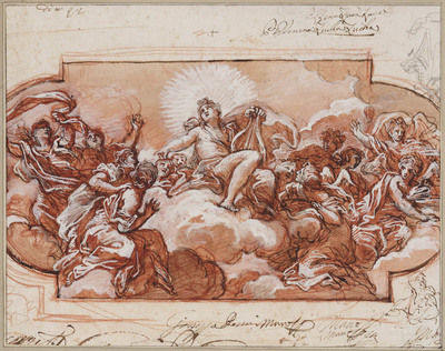 Apollo op wolken temidden van twaalf vrouwen