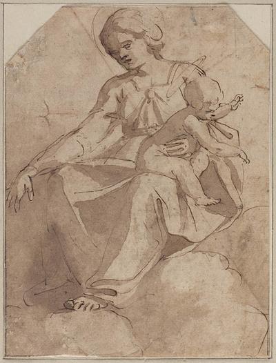 Madonna en Kind, op wolken gezeten
