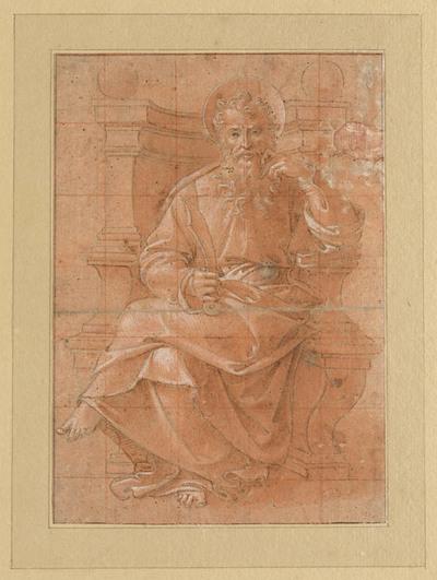 De apostel Bartholomeus, gezeten op een troon