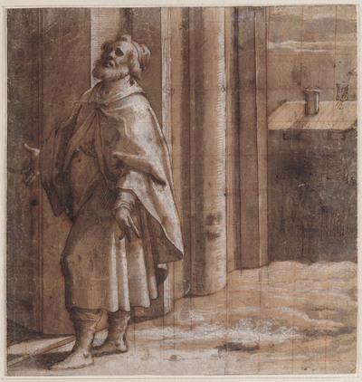 Heilige Omobonus bij ingang van een kerk bij nacht