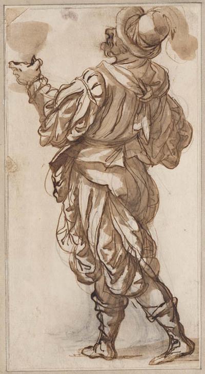 Soldaat, op de rug gezien, een bokaal in de hand