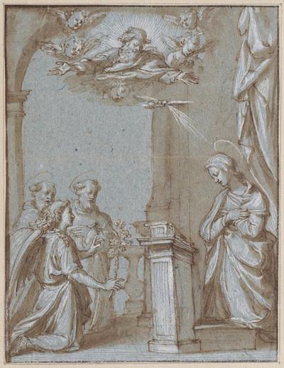 Annunciatie met twee knielende heilige monniken
