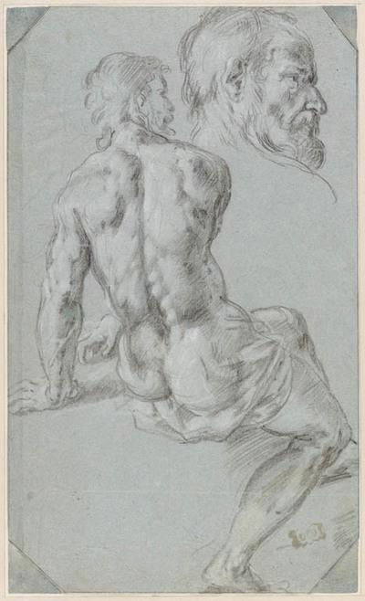 Mannelijk naakt, zittend, op de rug gezien; kopstudie