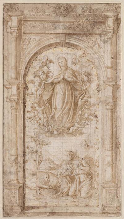 Maria door engelen gedragen verschijnt aan Hieronymus