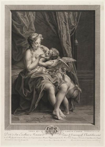 Venus liefkoost Amor