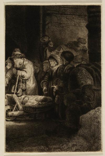 Image from object titled Kreupele op kruiwagen (onderdeel Honderdguldenprent)