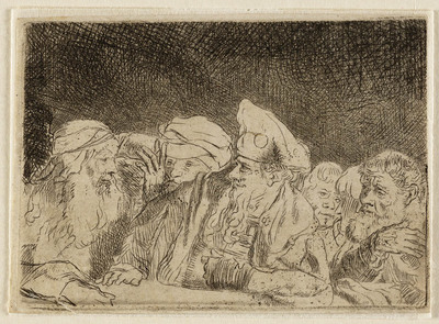 Mannen, leunend over ballustrade (onderdeel Honderdguldenprent) | William Baillie (engraver)