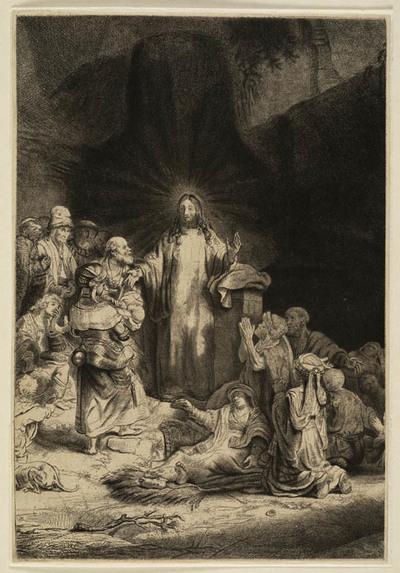 Image from object titled Christus predikend (onderdeel Honderdguldenprent)