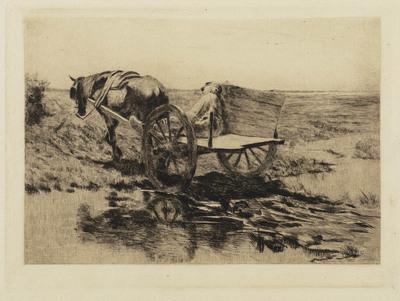 Boer met paard en kar, een beekje overstekend