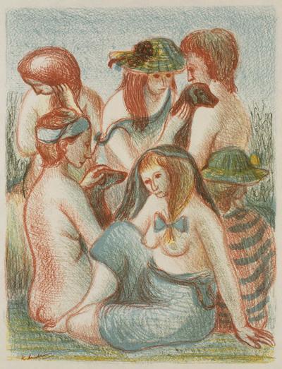 Zes zittende vrouwen