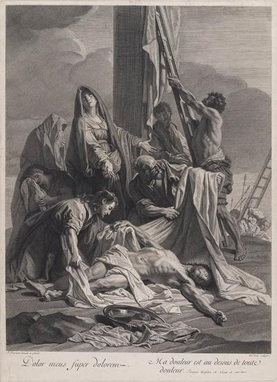 Lichaam Christus aan voet van kruis