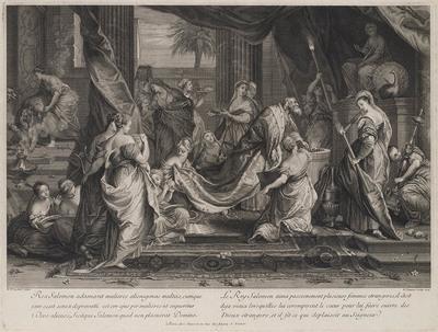 Salomo aanbidt de afgodsbeelden
