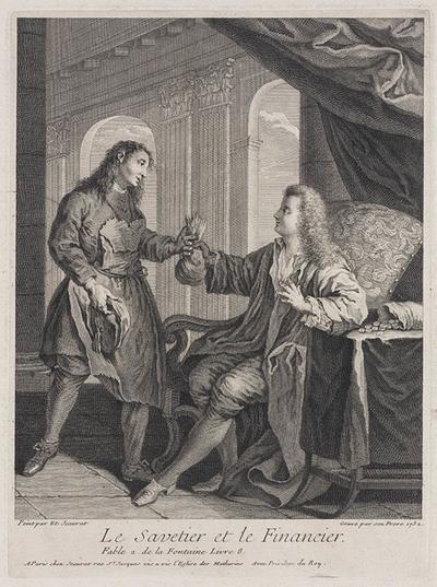 Zittende man overhandigt zak met geld aan staande man