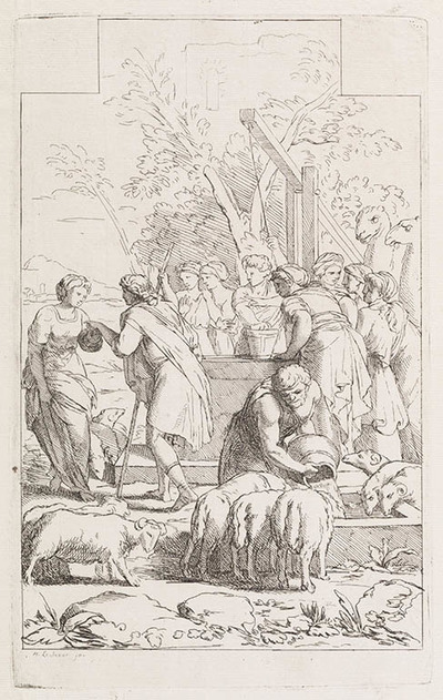 Illustratie van Manuscript Terentius (Bibliothèque du Roi, Paris). Jacob ontmoet Rachel bij de waterput ?.
