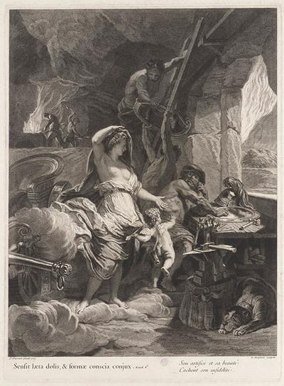 Venus regelt de wapens voor Aeneas bij Vulcanus.