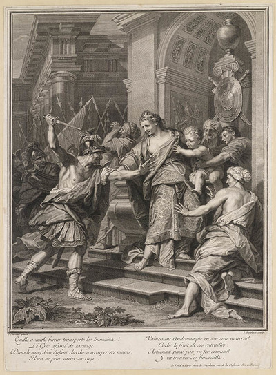 Astyanax wordt uit de armen van Andromache gegrepen.