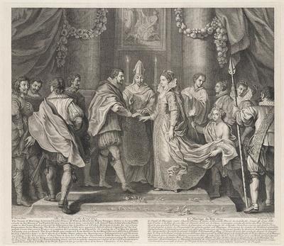 Huwelijk van Charles van Wales met Maria Henrietta.