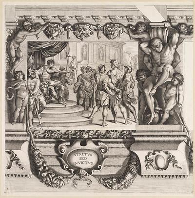 Remus voor koning Amulius gevoerd