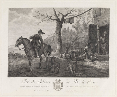 Ruiter met hond, paardenstal op de achtergrond