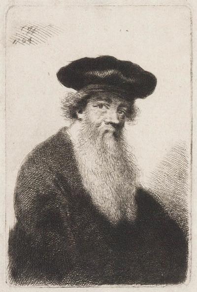 Kop van oude man met baard naar rechts