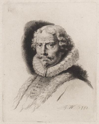 Man met pelsmantel en puntbaard naar links
