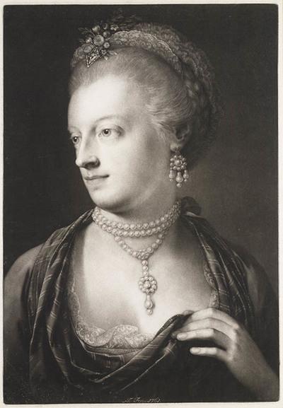 Vrouw met parelsnoer