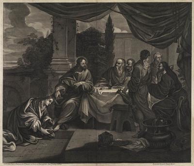 Maria Magdalena zalft de voeten van Christus