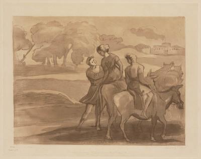 Image from object titled Liber Studiorum of Claude Lorrain: Reizigers met muildieren (nr. 13)