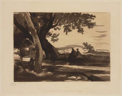 Liber Studiorum of Claude Lorrain: Landschap met beek en figuren (nr. 14)