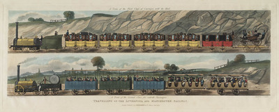 Image from object titled Travelling on the Liverpool and Manchester Railway (pl. 1)