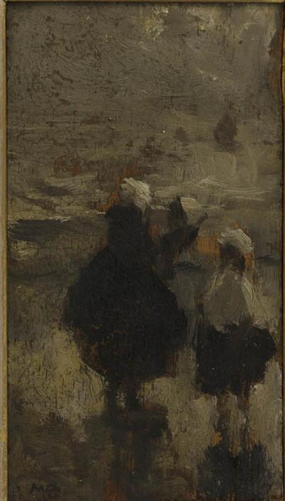 Vrouw en meisje op straat in Scheveningen