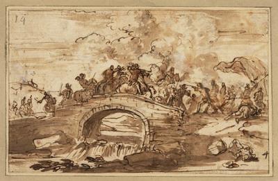 Cavaleriegevecht op een brug
