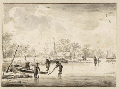 Winterlandschap met kolvers op het ijs